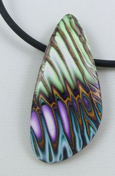 Colorful Polymer Clay Pendant with Gold Accents by JeanetteKandray