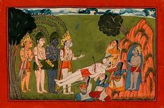 """Rama, Lakshmana, Hanuman and Sugriva Mourn the Death of Bali. Illustrated folio from the dispersed """"Mankot"""" Ramayana, Opaque watercolor and gold on paper, India, probably Mankot or Nurpur, Punjab Hills, ca. 1725–50, Rama, Lakshmana, Sugriva (the lead monkey), and Hanuman, the semidivine monkey assistant at the rear, are standing over the dead body of Bali. ..."""