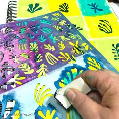 Stenciling in an art journal with a stencil inspireby by Matisse's cutouts video tutorial by Carolyn Dube
