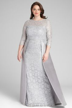Lace Gown with Gazar Skirt Overlay Mother Of The Bride Plus Size, Mother Of The Bride Dresses Long, Mother Of Bride Outfits, Grey Evening Dresses, Evening Dresses Plus Size, Evening Gowns, Hijab Dress Party, Pakistani Wedding Outfits, Plus Size Gowns