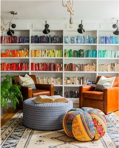 Every boho chic girl needs a library with books assorted by color stories!