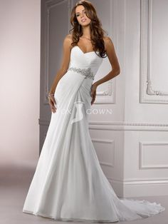 Chiffon Ruched A-line Wedding Dress with Beaded Belt and Sweetheart Neckline