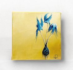 Spring Birds Oil Painting 6x6  Yellow and Blue by paperfinchart, $75.00