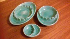 Set of 3 Mid-Mod Turquoise Ashtrays by AMEASUREOFTREASURE on Etsy