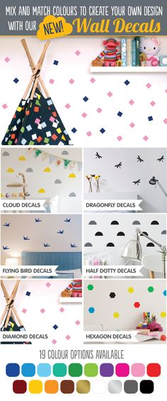 New range of lovely Wall Decals for your home! 19 Colours available, check them out here: http://www.brightstarkids.com.au/wall-art/wall-decals #walldecals #brightstarkids #wallstickers #geometrics