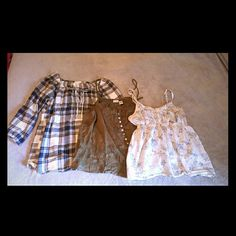 Lot of 3 tops! Mudd, Aero and So Great deal on 3 tops!   Plaid 3/4 length sleeve top is by Aeropostale - size small.   Green spaghetti straps top is by Mudd - size small.  White with blue flowers top is by  So - size medium.    *Please Note Tops are pre-loved and priced accordingly. No holes or stains, but there is pilling and fading from wear. Tops
