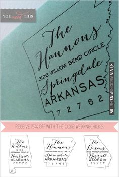 these are so great! something you will use over and over. personalized state stamps   VIA #WEDDINGPINS.NET