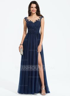 A-Line Scoop Neck Sweep Train Tulle Prom Dresses With Beading Split Front Wedding Party Dresses, Bridesmaid Dresses, Prom Dresses, Formal Dresses, Holiday Dresses, Special Occasion Dresses, Swatch, Tulle Prom Dress, Happy Women