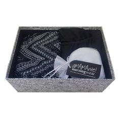 Perfect gift box under $40 delivered!  Includes comfort waist pj pants, nursing sleep leisure bra, soft cotton washable nursing pad and re-usable gift box perfect for new mom to keep baby's keepsakes!