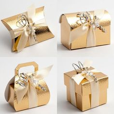 Gold Pelle Favour Boxes - modern and stylish leather effect embossing on shiny gold card.