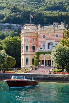 A boat moors at Grand Hotel Villa Feltrinelli in Italy. Best Cheap Hotels Booking Deals Get Special Promo Deals Hotels Cheap Discounted Up to Off Hotel Safe, Spa Hotel, Hotels Near Disneyland, Disneyland Orlando, Downtown Hotels, Arizona Resorts, Mykonos Town, Beste Hotels, Lake Garda