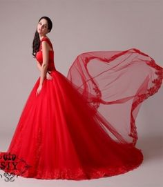 Stunning Red Wedding Dresses 2014 New Arrival A-Line Sweetheart Straps Chapel Train Lace Appliques Red Sashes Wedding Dress