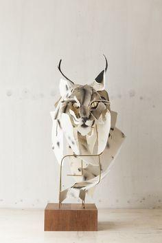 Lynx 2015 cotton rag, cotton thread, watercolour ink, brass rod