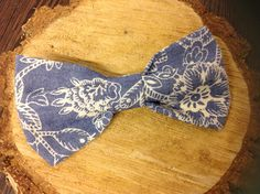 Bespoke handcrafted bow tie from Lilly Dilly's (matching pocket square also available) #bespoke #bow tie #denim look #floral #blue #wedding #groom #ushers #occasion #luxury