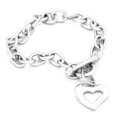 8465d09f0d Chic Silver Hoop Chain Heart Charm Toggle Bracelet