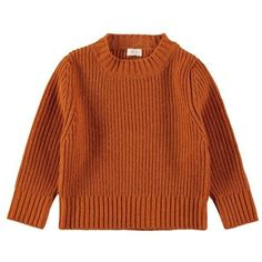 Ribbed Sweater Orange ($105) ❤ liked on Polyvore featuring tops, sweaters, ribbed top, brown sweater, orange top, brown tops and ribbed sweater