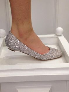 Cheap flats + gold glitter.... simple wedding shoes