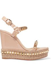 60e55968af93 Cataclou 120 studded patent-leather wedge platform sandals Louboutin  Wedges