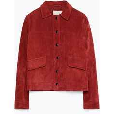 Zara Suede Jacket (1 020 UAH) ❤ liked on Polyvore featuring outerwear, jackets, coats & jackets, tops, dark red, fleece-lined jackets, suede jackets, red jacket, suede leather jacket and red suede jacket