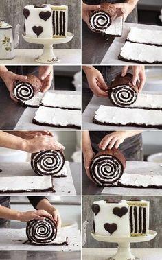 Gestreepte chocolade taart
