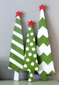 Christmas wooden crafts ideas,Red star Green wood tree for Christmas (large trio of trees would be cute in yard/porch)