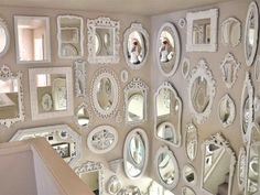 Not So Shabby - Shabby Chic: Mirror wall is almost complete. Shabby Chic Homes, Shabby Chic Decor, Mirror Gallery Wall, Vintage Mirrors, Room Decor, Wall Decor, Home Improvement, Mirror Mirror, Wall Of Mirrors
