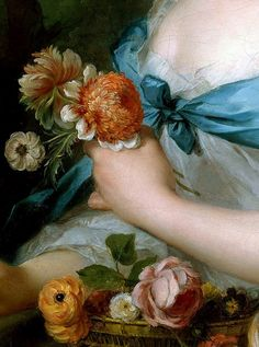 Jean-Marc Nattier, Detail of Portrait of a Lady called Marquise de Cypierre, 1753