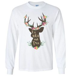 Wild and Free Long sleeve Wild And Free, Graphic Sweatshirt, Sweatshirts, Long Sleeve, Cotton, Products, T Shirts, Xmas, Long Dress Patterns