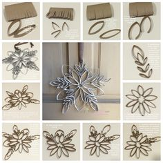 Make a snowflake from toilet paper rolls! So easy and only takes about 30min once you've gathered your materials!