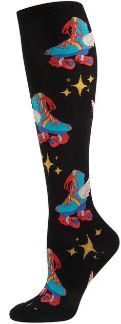 Retro Roller Skates women's novelty knee high socks by Socksmith. #coolsocks