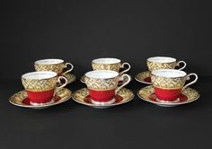 AYNSLEY Bone China 6 Coffee  Cups and Saucers. Red and Gold, pattern #CupsandSaucers
