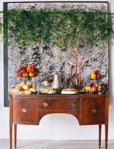 greenery backdrop~dessert table <3 love!