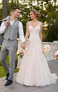 6401 Sparkling Silver Lace Wedding Dress by Stella York