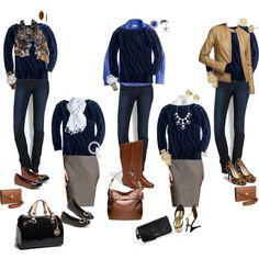 10 Piece Fall Wardrobe - Navy Sweater 5 Ways