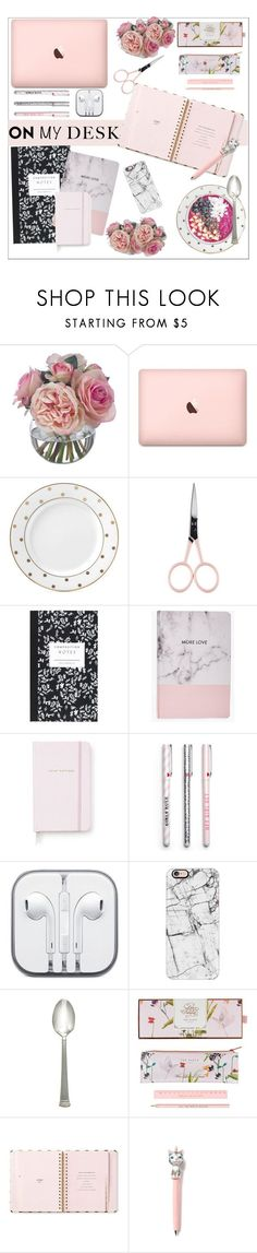 """On my desk"" by smallbeautymonsters ❤ liked on Polyvore featuring interior, interiors, interior design, home, home decor, interior decorating, Diane James, Kate Spade, Anastasia Beverly Hills and Dot & Bo"
