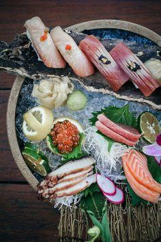 Our delicious nigiri board with salmon, shu toro, otate, sigala, king crab, kinmedai, maguro, hamachi and ika. Salmon, Menu, Boards, Cheese, Food, Menu Board Design, Planks, Essen, Meals