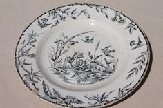 aesthetic antique china plate, Indus birds & pond grasses, black transferware china