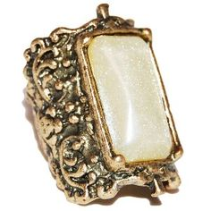 Carved Pearlescent Rectangle Ring