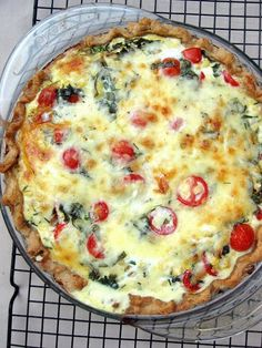 Tomato and Fresh Corn Quiche. A lovely cheesy quiche filled to the brimwith grape tomatoes sweet corn caramelized onions and fresh herbs. Anda rich and flaky butter pie crust.