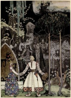 Kay Nielsen's Stunning 1914 Illustrations of Scandinavian Fairy Tales - East of the Sun and West of the Moon: Old Tales from the North - 'The Wolf Was Waiting for Him' | Brain Pickings