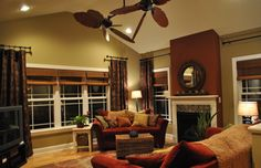 Cozy Open Concept Living, Making our open floor plan cozy and inviting through warm tones and organic touches. , Living Rooms Design