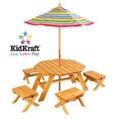 Octagon Table & 4 Stools and Multi Striped Umbrella  With our Octagon Table and 4-Stool Set, kids can finally use patio furniture designed with them in mind. This furniture set is perfect for any young child who loves to be outdoors.