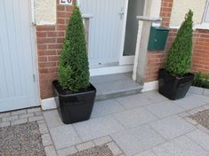 Stylish Planters with Buxus Cones make a simple but effective addition for inclusion in new granite driveway. Front Garden Path, Front Gardens, Garden Paths, Garden Landscaping, Driveway Paving, Driveway Design, Front Driveway Ideas, Granite Paving, Driveways