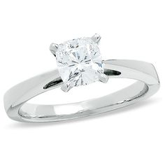 1 CT. Cushion-Cut Celebration 102™ Diamond Solitaire Ring in 18K White Gold (I/SI2) - Zales