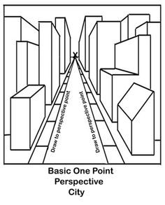 one point perspective city - Google Search                                                                                                                                                                                 More