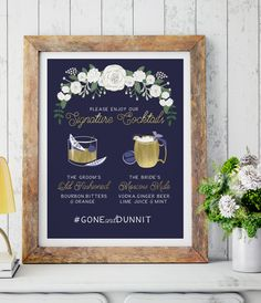 The Navy and Gold Signature Cocktails Wedding Bar Sign - Navy and Gold Wedding - Custom Cocktails - Wedding Bar Sign - Cocktail Sign