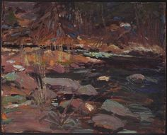 Tom Thomson (1877-1917) Canadian Potters Creek, Canoe Lake 1916 c oil on wood panel 21.4 x 26.7 CM (Sean Weaver/Gift from the Estate of Roy Fraser Elliott, 2005 Copyright Art Gallery of Ontario)