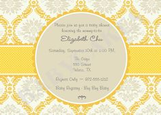 Yellow and Gray Baby Shower Invitation Gender Neutral - DIY Print Your Own - Matching Party Printables Available