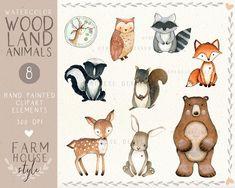 Watercolor On Wood, Watercolor Animals, Watercolor Background, Forest Animals, Woodland Animals, Woodland Forest, Planner Stickers, Woodland Creatures, Nursery Wall Art