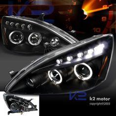 2003 2007 Honda Accord LED Halo Projector Headlights Black Pair | eBay